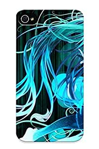 AtMPHSM4078VCgFa Case Cover Vocaloid Hatsune Miku Floating Tie Barefoot Thigh Highs Twintails Closed Eyes Aqua Hair Mi Compatible With Iphone 4/4s Protective Case
