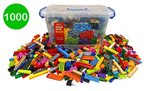 Bucket of Building Bricks - 1000 PC Bulk Blocks with Roof Pieces (Construction Block)