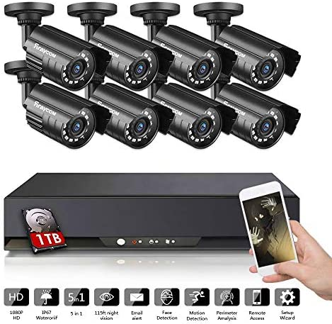 Rraycom 8CH Security Camera System 1080P Lite 5 in 1 DVR with 1TB Hard Drive and 8 1080P HD Outdoor Indoor IP67 Weatherproof CCTV Surveillance Cameras,115ft Night Vision,Motion Alert, Remote Access