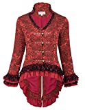 Women's Vintage Steampunk Victorian Tail Coat Tops Corset Style for Party BP223-2 Red Size M