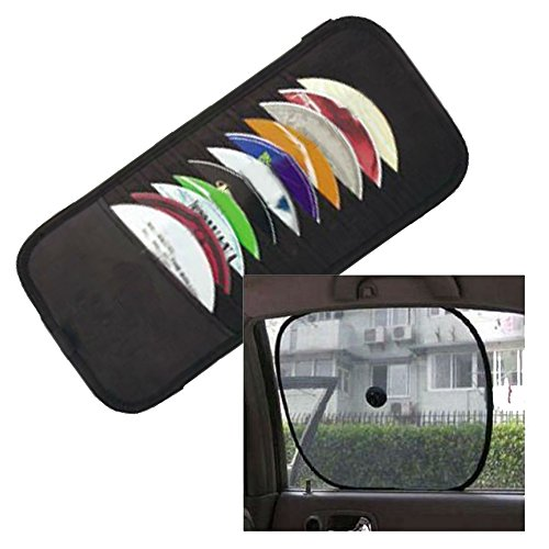 Car Visor Cd Holder - and Automobile Window Sunshade Combo Pack [Bundle 2,pcs] - Compact Disc Visor Sleeves Holds 12 CDS - Sun Shade Protection for Passengers, Driver, Baby, Keep Heat Out - Must Have 12 Disc Cd Visor