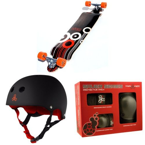 Atom Drop Deck Longboard (41-Inch) with Triple 8 Helmet and Pad Set