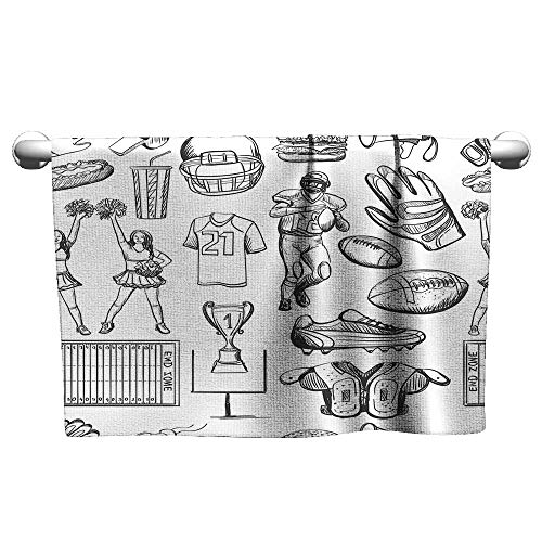Andasrew Hand Towel Football,Cup Ball Cheerleader Player Sneakers Sports Equipment Sketch Pattern,Charcoal Grey and White,Towel Bathrobes for Women