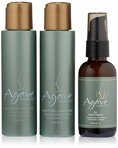 Agave Healing Oil - Smoothing Trio. Anti-Frizz Hair Treatment Set Hydrates & Heals Damaged Hair....
