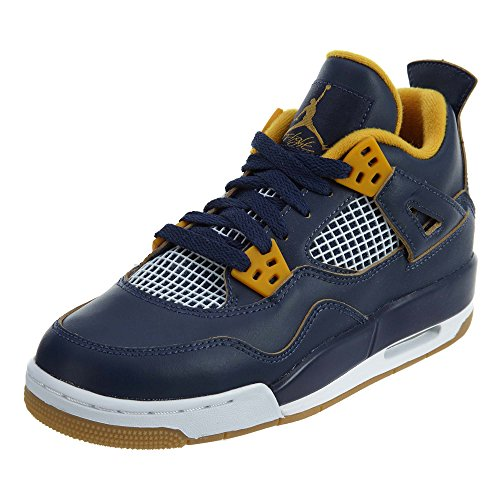Nike Boys Air Jordan 4 Retro BG,MID NAVY/METALLIC GOLD STAR-GOLD LEAF-WHITE,4Y