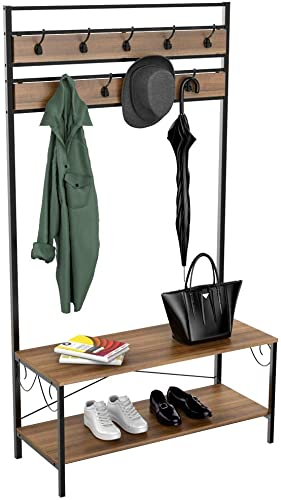 Topeakmart Vintage Coat Rack, 3-in-1 Hall Tree, Entryway Shoe Bench Coat Stand, Storage Shelves 9 Hooks in Black Metal Finish