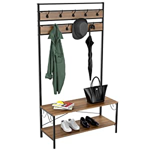 Yaheetech Industrial Hall Tree with Storage Bench Entryway Bench with Coat Rack/Hooks/Hanger Stand Sturdy Bench Coat Tree Shoes Shelving Wood and Metal