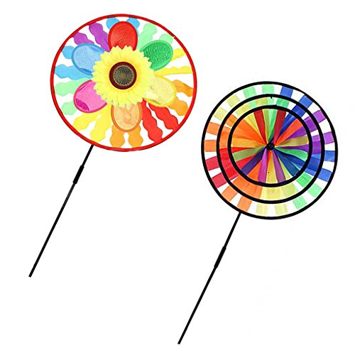 Dovewill Colorful Windmills Wind Wheel-3D Circles & Sunflower-Garden Camping Party Decor Children Outdoor Indoor Toys by Dovewill