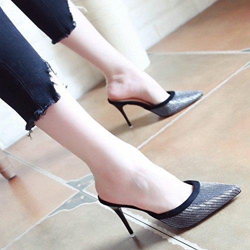 Damas Cool con Europeo tacón de Zapatos de de Zapatillas Verano Estilo Golden los YMFIE Alto Moda de Finas Lentejuelas TxHARZ