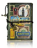 FX Classic Vintage Style Journal Writing Leather Notebook 7.3 x 5 Inches Perfect Gift as Art Sketchbook, Travel Diary Book (Green-stamp)