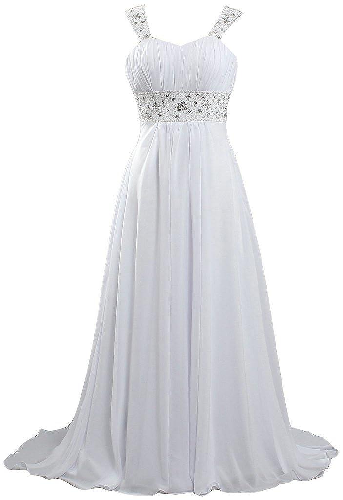 ANTS Women's Long Chiffon Beach Wedding Dresses 2017 Cap Sleeves K355-MFN