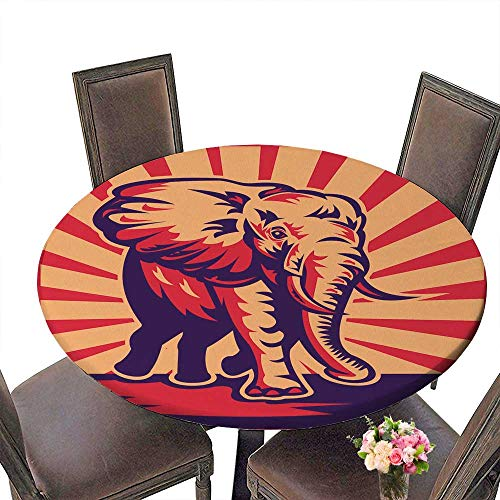 PINAFORE Modern Table Cloth a an African Bull Elephant Charging Done in Woodcut Retro Style Indoor or Outdoor Parties 59