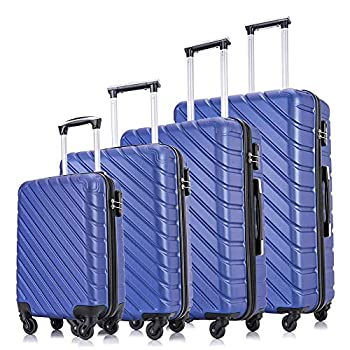Image of Luggage Carambola 4 Pcs Luggage Sets Suitcase Sets Spinner Wheel Hardshell Lightweight Luggage 18' 20' 24' 28' with Covers and Hangers