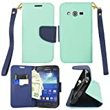 Walmart Family Mobile Samsung Galaxy Avant/G386T Premium Wallet Flip Credit Card Cover Case, Samsung Galaxy (T-Mobile) Avant G386T Aqua/Blue Premium PU Leather Stand