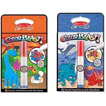 Melissa & Doug ColorBlast! Sea Life and Dinosaurs Color-Reveal Coloring Books, 2-Pack