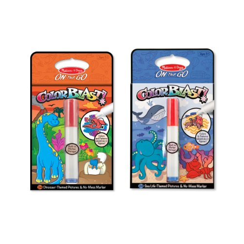 Melissa & Doug ColorBlast! Sea Life and Dinosaurs Color-Reveal Coloring Books, 2-Pack -