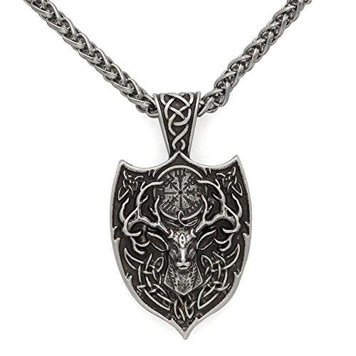 TTKP Men Double Side Viking Deer Sekira Legendary Aegishjalmur Amulet Nordic Talisman pegan Pendant Necklace Silver Chain