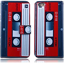"""iPhone 7 Plus Case,iPhone 8 Plus Case,Gift_Source [Kickstand Feature][Card Slots] PU Leather Wallet Case Flip Folio Stand Cover & Magnetic Closure for iPhone 8 Plus/iPhone 7 Plus (5.5"""")[Cassette Tape]"""