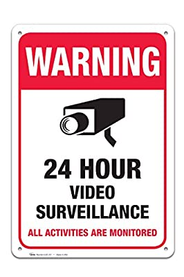 "Video Surveillance Warning Sign, Large Rust Free 10x14"" Aluminum, For Indoor or Outdoor Use - By ARMO by ARMO"