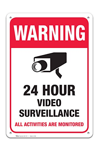 Video Surveillance Sign, Large Rust Free 10 x 14 Aluminum, For Indoor or Outdoor Use - By ARMO from Armo