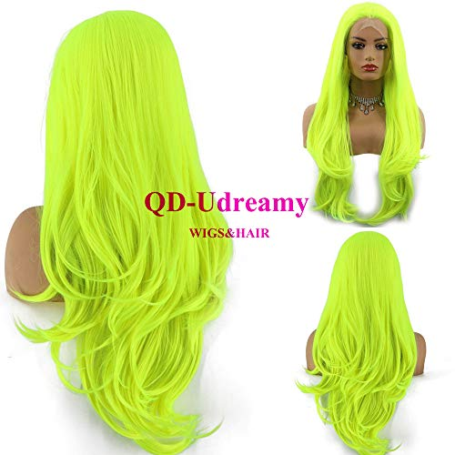 QD-Udreamy Neon Yellow Natural Wavy Lace Front Wigs Natural Looking Wig Replacement Wig Synthetic Hair Wigs for Women -