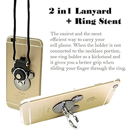 AccessoryHappy Mickey Ear 2 in 1 Phone Lanyard & Ring Stent, Cell Phone Tether Neck Strap Holder Ring Stent Kickstand for iPhone 5 6 6S 7 8 8 Plus Galaxy S7 and Other Mobile Phones
