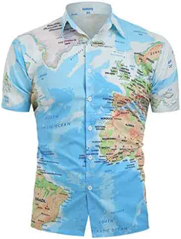 4f2de1949e8 FEDULK Men Button Down T-Shirt 3D Novelty World Map Print Short Sleeve Slim  Fit