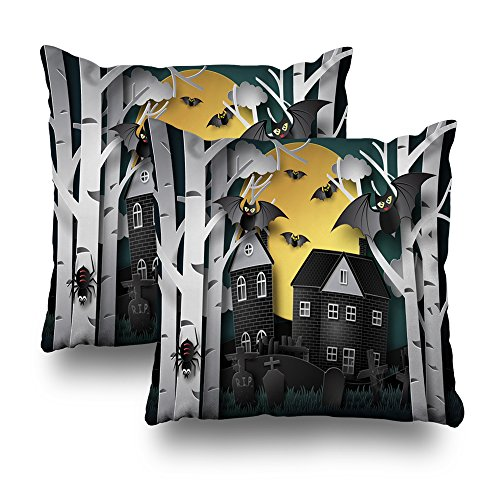 ONELZ Happy Halloween Art Style Square Decorative Throw PillowCase Two Sides Printed, Fashion Style Zippered Cushion Pillow Cover(18 x 18 inch,Set of 2)