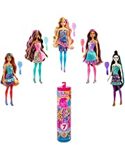 Barbie Color Reveal Doll with 7 Surprises: 4 Bags Contain Skirt, Shoes, Earrings & Brush; Water Reveals Confetti-Print; Doll's Look & Color Change on Hair & Face; Party Series; 3 Year Olds & Up