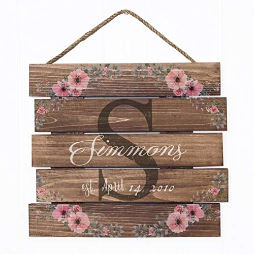 Artblox Rustic Personalized Family Sign Home Decor, Custom Family Name, Family Initials & Established, Vintage Barn Wood Farmhouse Wooden Country Pallet Plaque 15x18 - Simmons Family - Pink Flowers ()