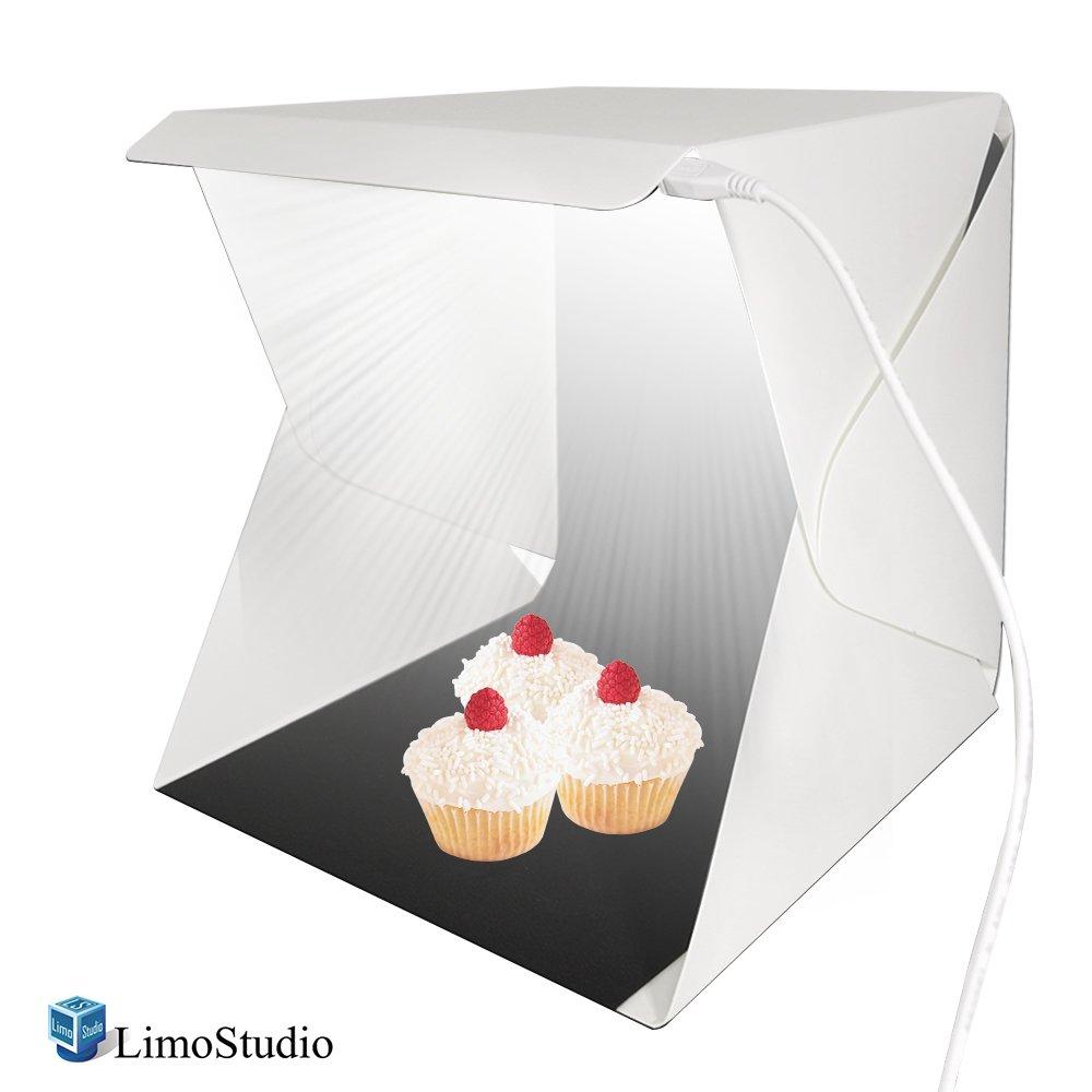LimoStudio LEDライトポータブル折りたたみ式ミニ写真撮影ボックステント、テーブルトップ小さな照明ボックスキット、USB充電ケーブル、商用製品撮影写真ブース&クリーニングクロス、agg688 V2   B005D9N05U