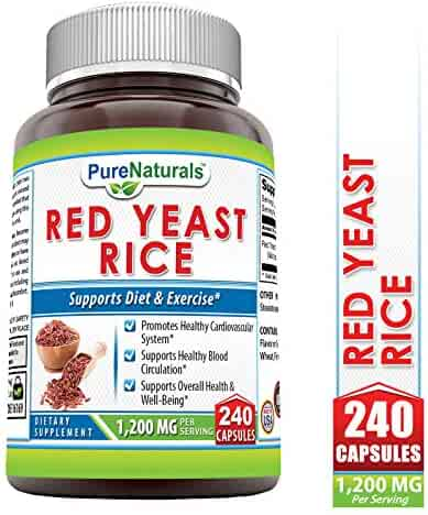 Pure Naturals Red Yeast Rice Dietary Supplement, 1200 Mgper Serving Capsules, 240Count, Promotes Healthy Cardiovascular System*, Supports Healthy Blood Circulation, Supports Overall Health*