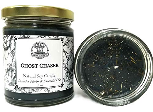 Art of the Root Ghost Chaser 8 oz Soy Herbal Spell Candle for Witchcraft, Curses, Spirits, Hauntings & Negativity Hoodoo Wiccan Pagan Voodoo Magick