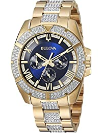 Mens Swarovski Crystal Quartz Stainless Steel Casual Watch, Color:Two Tone (