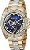 Bulova Men's 'Swarovski Crystal' Quartz Stainless Steel Casual Watch, Color:Two Tone (Model: 98C128)