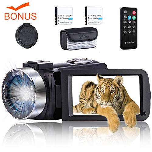 "Video Camera Camcorder Vlogging Camera Full HD 1080P 30 FPS 24.0 MP YouTube Digital Camera with IR Night Vision 3.0"" IPS Screen 16X Zoom Vlog Camera with Remote Control, 2 Batteries (XS7) from CEDITA"