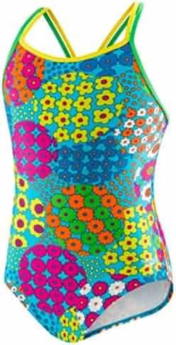 Speedo Big Girls'  Youth Solid Splice Cross-Back One-Piece Swimsuit
