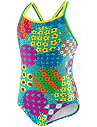 Big Girls' Youth Solid Splice Cross-Back One-Piece Swimsuit