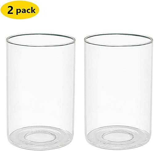 Clear Glass Shade Clear Cylinder Glass Lamp Shade Diameter 3.5 Height 5.5 Fitter 1.65 2 packs H5.5