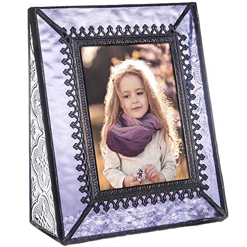 Lavender Vintage Glass (J Devlin Pic 376-2535 Vintage Purple Glass Picture Frame Tabletop Photo Frame School Photos 2 1/2 x 3 1/2 Keepsake Gift)