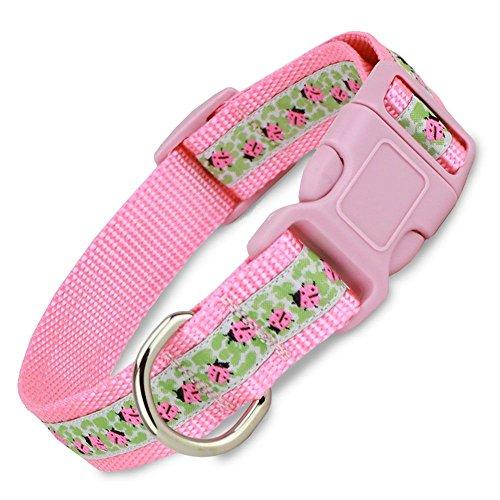 Ladybug Dog Collar on Pink Nylon
