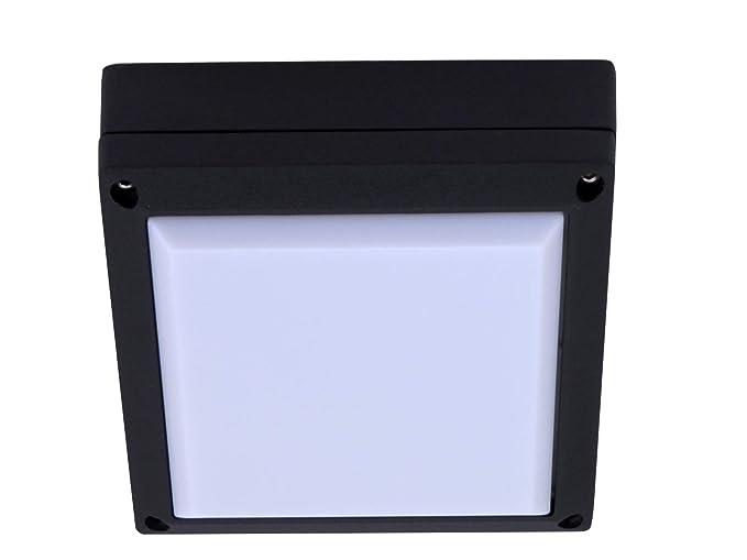 Plafoniera Quadrata Da Esterno Led : Applique plafoniera quadrata da esterno alluminio nero led