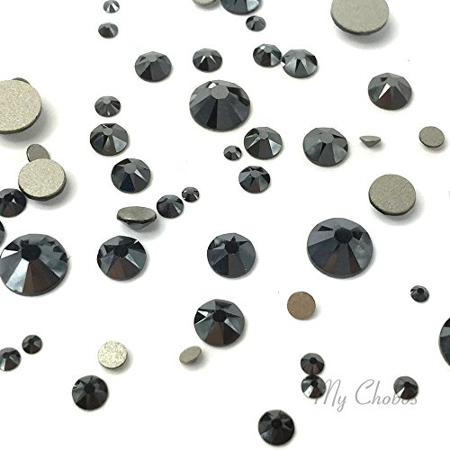 JET HEMATITE (280 HEM) black 144 pcs 2058/2088 SWAROVSKI Crystal Flatbacks rhinestones nail art mixed with Sizes ss5, ss7, ss9, ss12, ss16, ss20, ss30