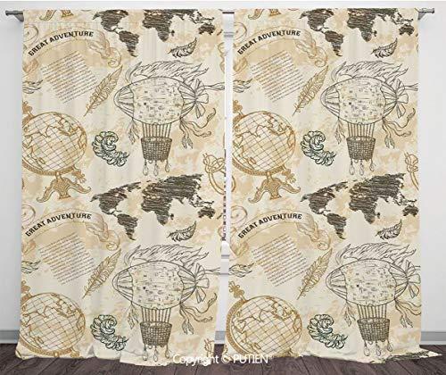 Satin Window Drapes Curtains [ Wanderlust Decor,Vintage Globe World Map Airship Rope Knots Ribbon Retro Illustration Decorative,Beige Olive Green ] Window Curtain Window Drapes for Living Room Bedroom (Harlow Drapes Window)