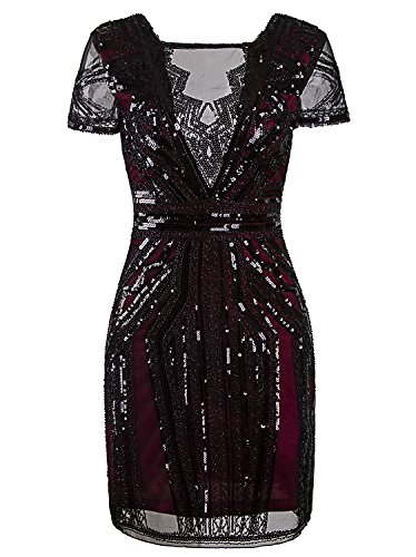 Vijiv 1920s Short Prom Dresses V Neck Inspired Sequins Cocktail Flapper Dress,Wine -