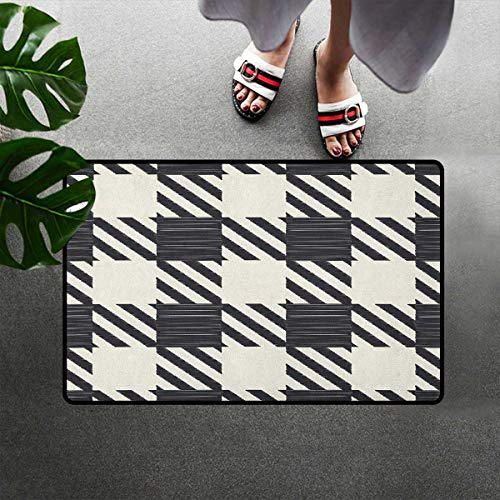 Bohogifts Checkered Quick-Dry Doormat Diagonal Stripes and Squares Monochrome Sketchy Geometric Grid Revival Tile Door Mats Rugs Easy Clean for Indoor Entry 16