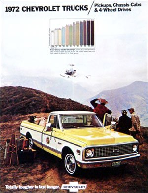 - 1972 Chevy Chevrolet Truck Sales Brochure (With Decal)