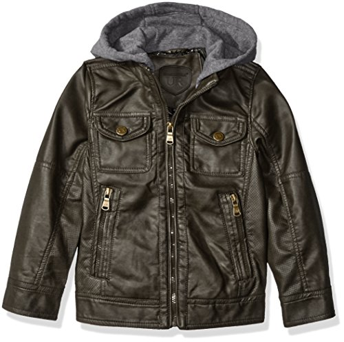 (Urban Republic Boys' Little Faux Leather Jacket with Perforated Inserts and Fleece Hoodie, Dark Charcoal, 5/6)