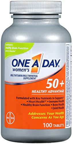 One A Day Women's 50+ Healthy Advantage Multivitamins, Supplement with Vitamins A, C, E, B1, B2, B6, B12, Vitamin D and Calcium, 100 Count