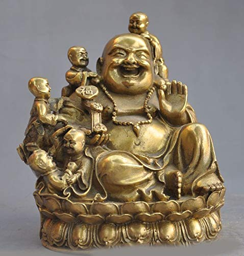Christmas Buddhism Temple Brass Wealth 5 Boy Happy Laugh Maitreya Buddha Statue Halloween